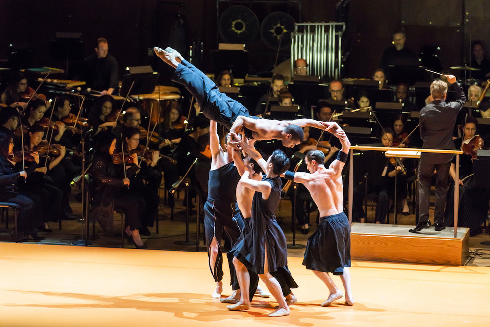 Boston Ballet performs Wayne McGregor's  Obsidian Tear  as Esa-Pekka Salonen conducts the New York Philharmonic in  Foreign Bodies  at David Geffen Hall;photo by Chris Lee, courtesy of New York Philharmonic