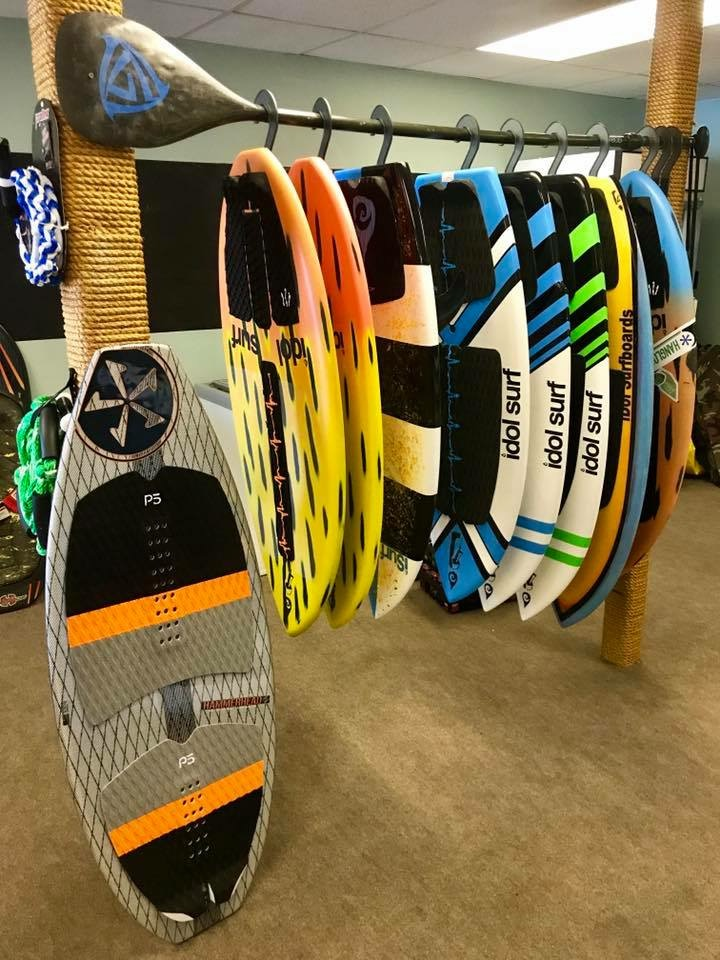 SURF SHOP - In the market for a new wakesurf board, SUP or paddle? We've got the one for you! We also carry accessories for your SUP and other boating needs.