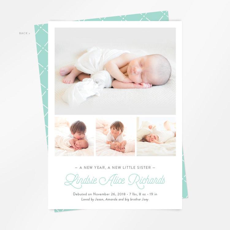 New Year New Addition multiphoto birth announcement Ringleader – New Years Birth Announcements