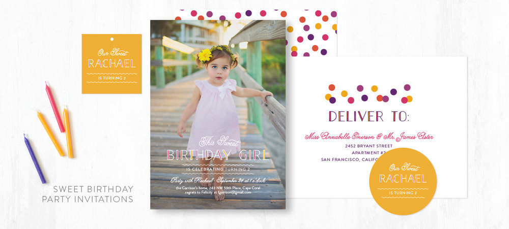 Sweet Birthday children's party invitations by Ann Gardner for Minted.com