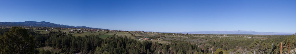 The panoramic view overlooking the Ojo Sarco/Truchas area.