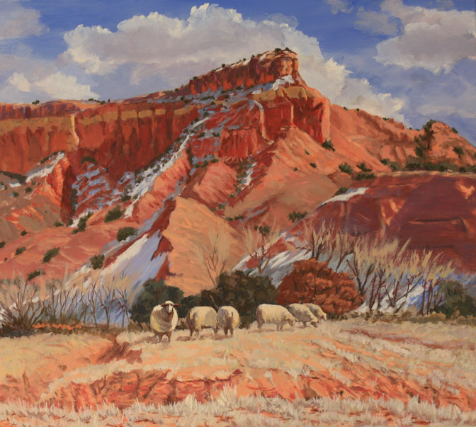 """Ghost Ranch Sheep, oil on canvas, 28""""x25"""", framed, $1,500"""