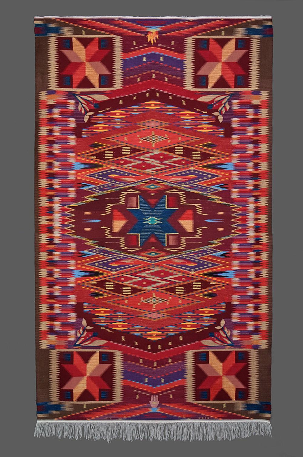 "Grace   Irvin Trujillo, Irvin Trujillo, Vallero style, hand-dyed wool/silk tapestry, 48""x72"""