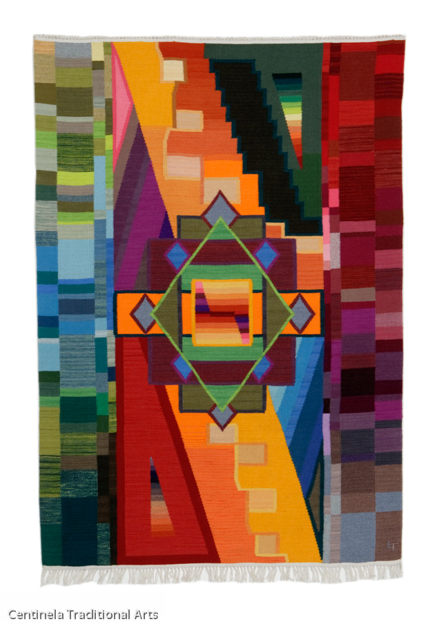 "Sum of the Parts   Lisa Trujillo, Modern, natural and hand-dyed wool tapestry, 48""x72"""