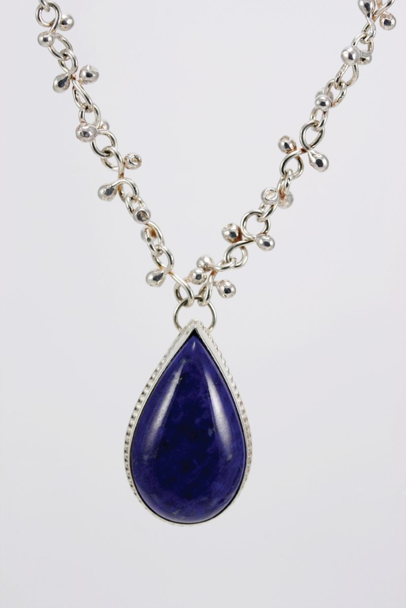 "Handmade Sterling Silver ""confetti chain"" with Lapis & Sterling Silver pendant."