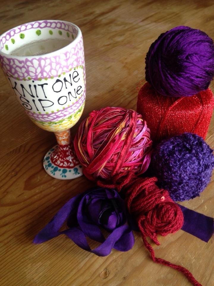 Knit mug and yarn