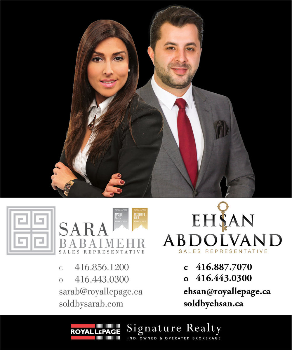 Sara Babaimehr and Ehsan Abdolvand, Royal LePage Signature