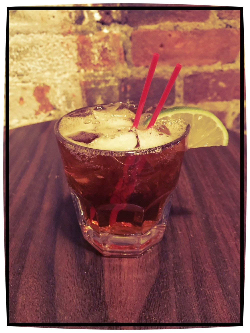 Dark & Stormy $8 - Gosling's Black Seal Rum, Ginger Beer,Lime Wedge
