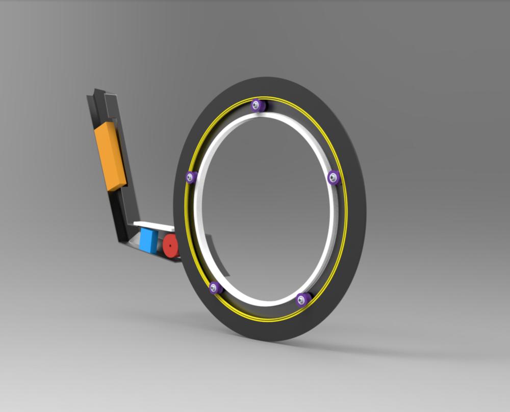 inbuilt electric motor - battery (orange), control (blue), motor (red)