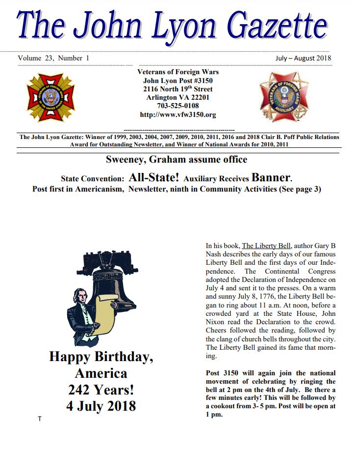 July-August 2018 Newsletter