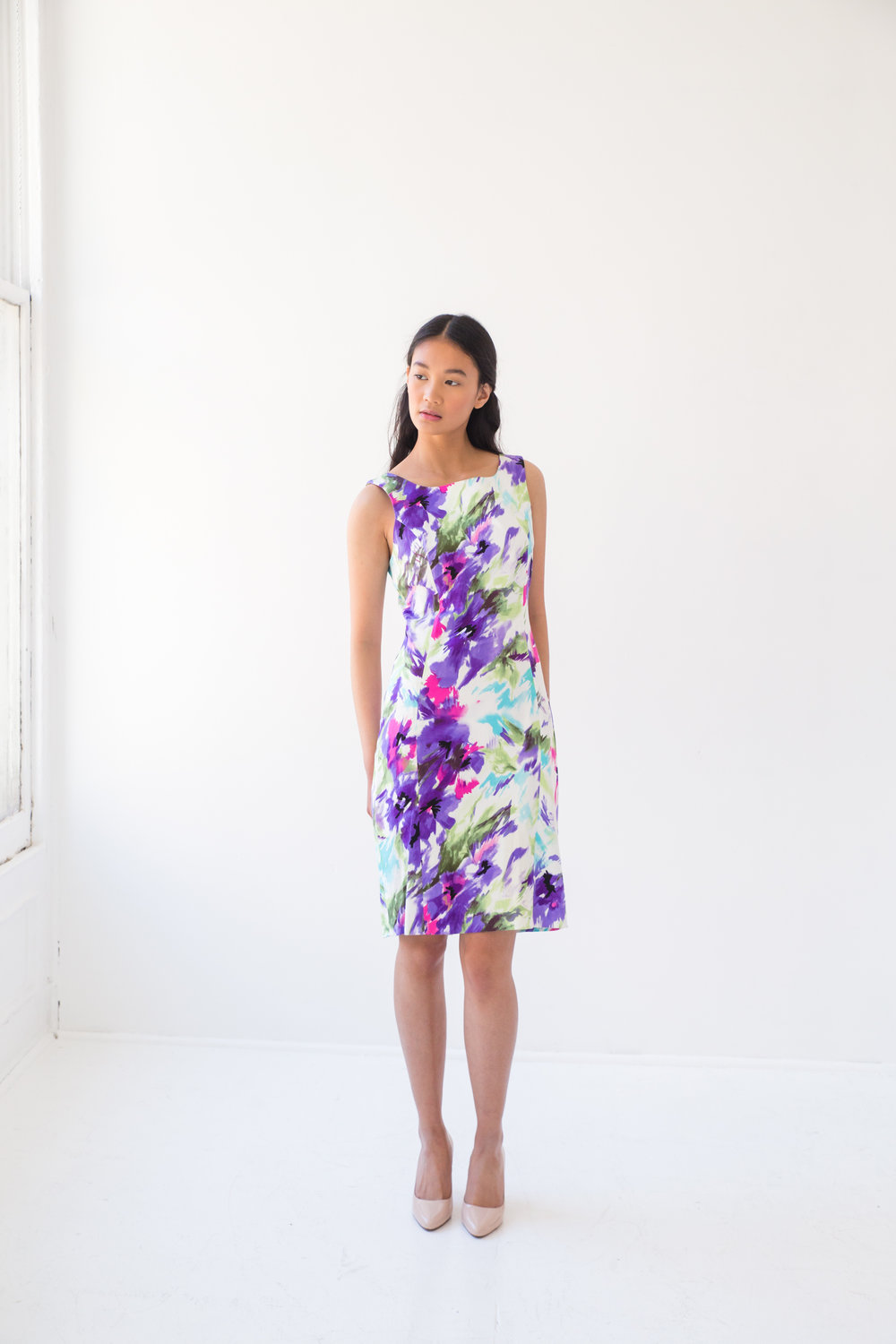 Abstract Floral Sleeveless Dress