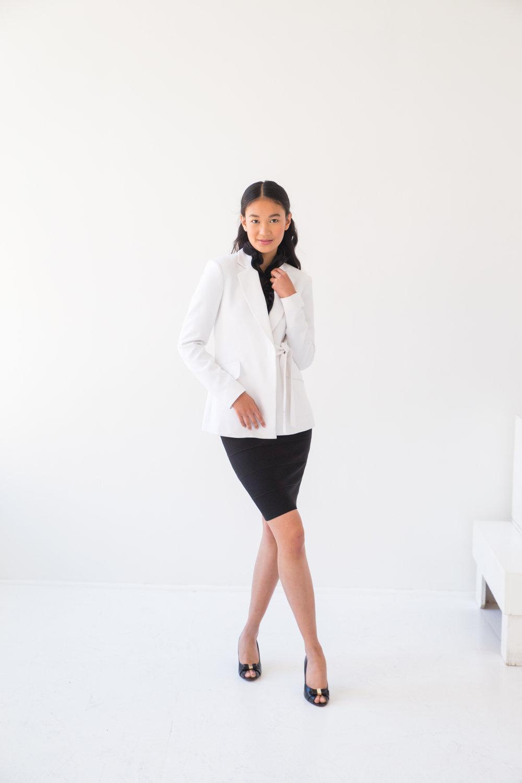 White Waist Tie Jacket