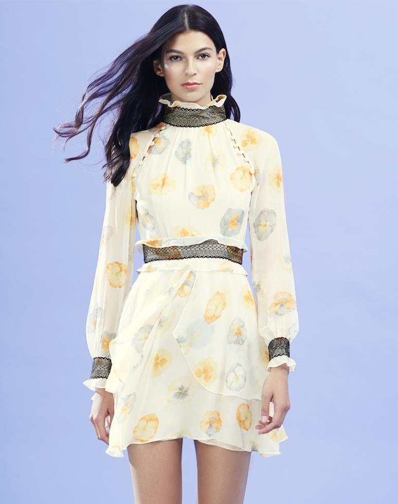Floral Chiffon Flare Dress