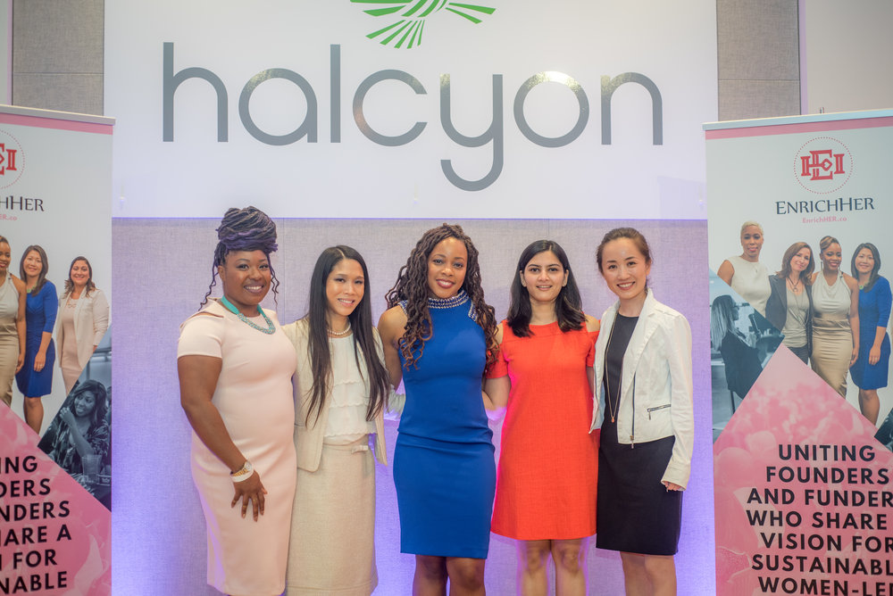 EnrichHER Spark Washington, D.C. 2018 Pitch Finalists. Shown from left to right are Shawntel Asemota White, Founder Om Health.Care, Melissa Chung Founder Krippit, Roshawnna Novellus, Founder EnrichHER, Shreya Bhargava,F ounder District Mugs, and Amy Fan, M.D. Founder & Pediatrician at Kidner.