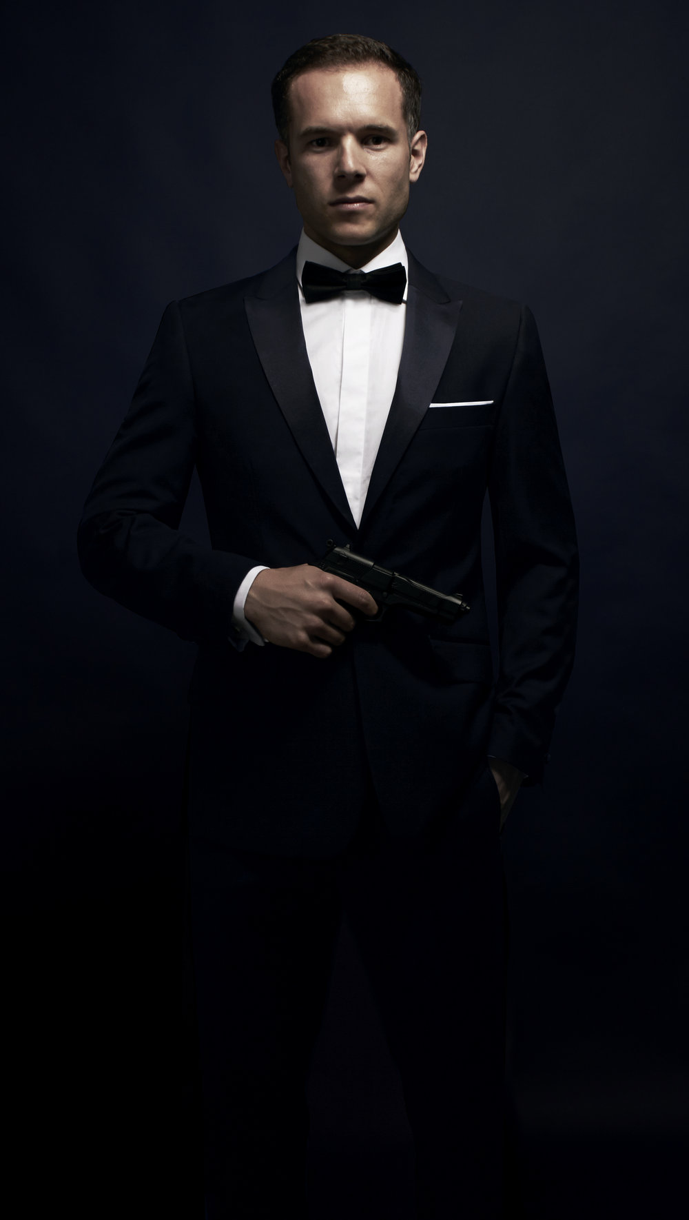 fashion photography male model black backdrop James Bond Dobell Brighton London Flare Studio