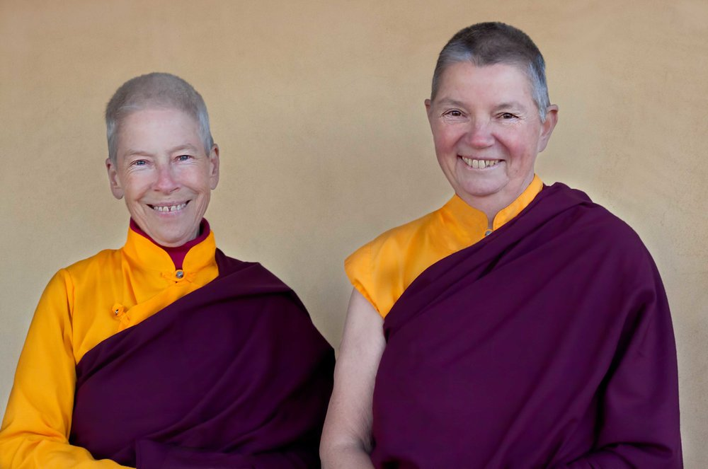 Lama Yeshe Parke  (at left),  and Lama Pema Clark  (at right)