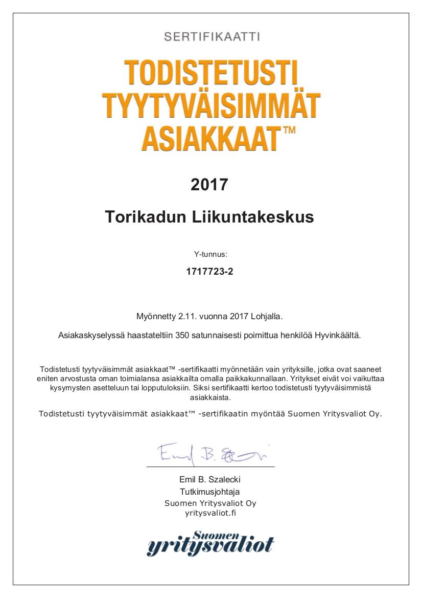 Torikadun Liikuntakeskus A4-sertifikaatti 2017.jpg