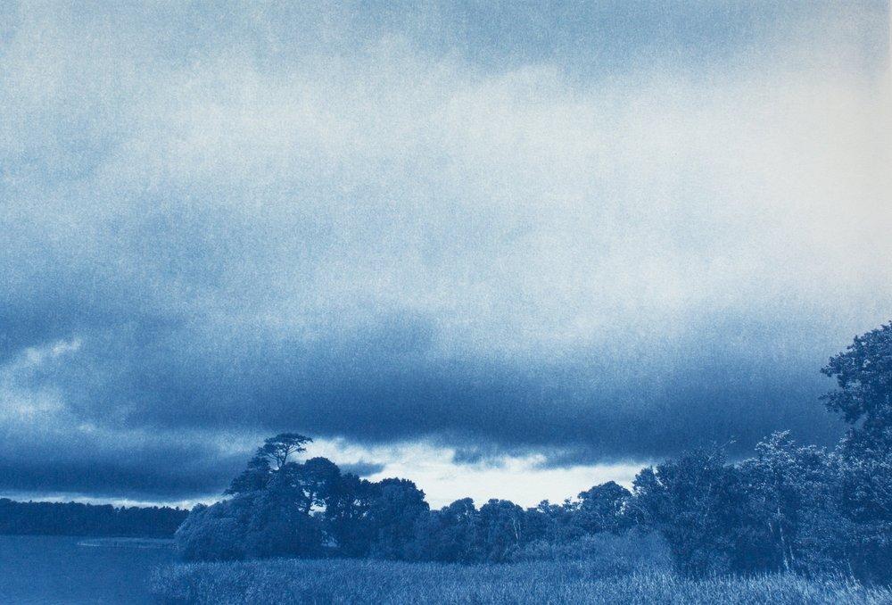 "Sue Abramson, On the Edge of Killarney's Lower Lake, Killarney National Park, Ireland , Cyanotype, 2016/2017, 28"" x 22"""