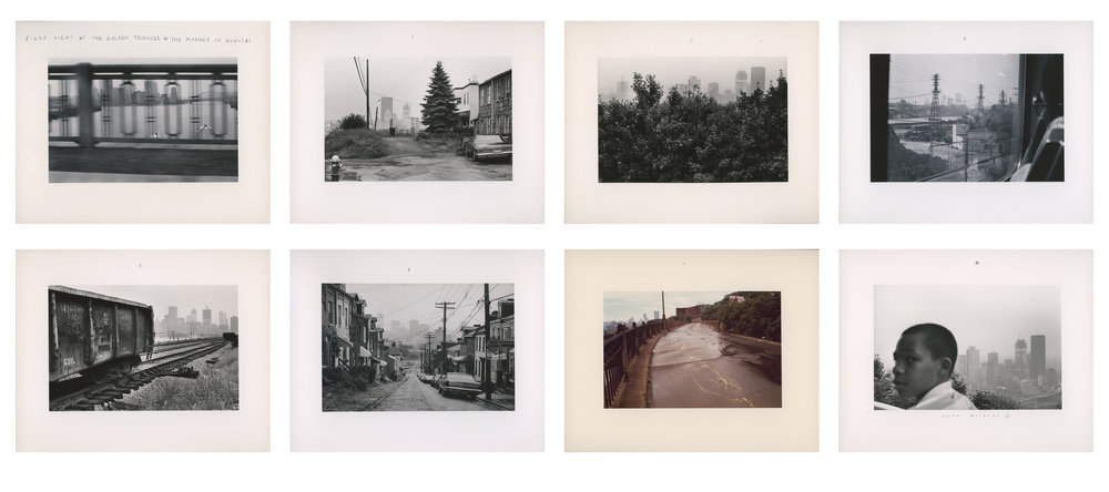 "Lot 21 Duane Michals, New York, NY    Eight Views of the Golden Triangle in the Manner of Hokusai , Silver gelatin print, 1982, 8 separate 8"" x 10"" prints Signed, recto Donated by the artist Edition 1/25 $6,000 - 9,000"