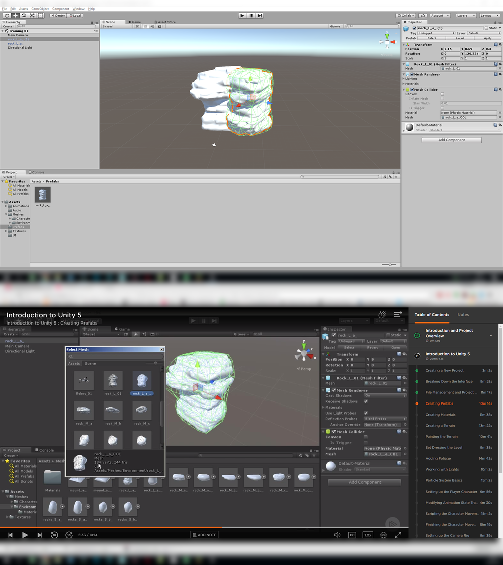 Importing meshes into unity and creating colliders.