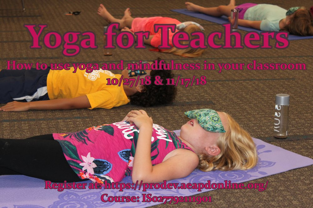 Yoga For Teachers Class - Amy will be teaching a yoga for teachers class at the AEA this fall. This is designed to help teachers create a classroom atmosphere that fosters peace, inner growth and physical movement through the practice of yoga and meditation.*Continuing ed and graduate credits are available.Dates: October 27 & November 17, 2018Times: 8:00 AM - 4:00 PMMore information and registration at:https://prodev.aeapdonline.org/Activity #: IS027792111901