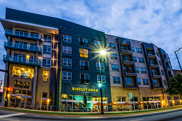 South Ridge has restaurants and retail with an off-street parking garage.