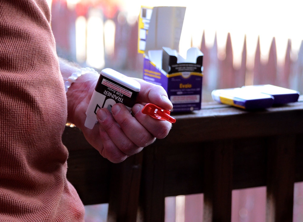 Chad Sabora, a recovering addict at activist with the Missouri Network for Opiate Reform and Recovery, demonstrates administering Narcan, the overdose reversal drug on Saturday Feb. 20, 2016. Sabora has administered Narcan to about 30 people.  Photo credits: Whitney Matewe