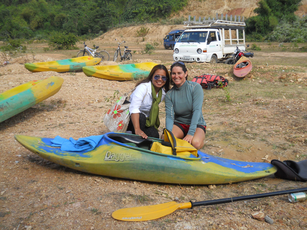One of our star instructors, Karla Held, on right, in Laos