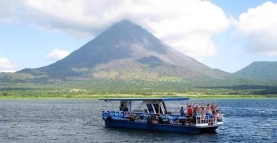Boating on Lake Arenal