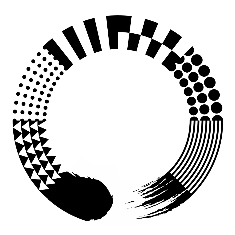 A black and white illustration of a painted circle, known as an enso. But the paint changes into textured patterns of triangles, dots, lines, and stripes.