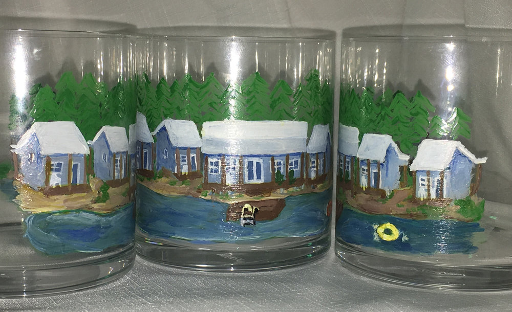 Rocks glasses featuring a customer's vacation property. Set of 4. $200