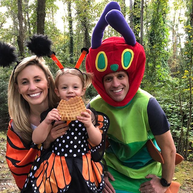 "Sarah's reaction to my costume was correct, ""OH MY, GOD. Your head looks even bigger."" #bigheadhusband #veryhungrycaterpillar #halloween"