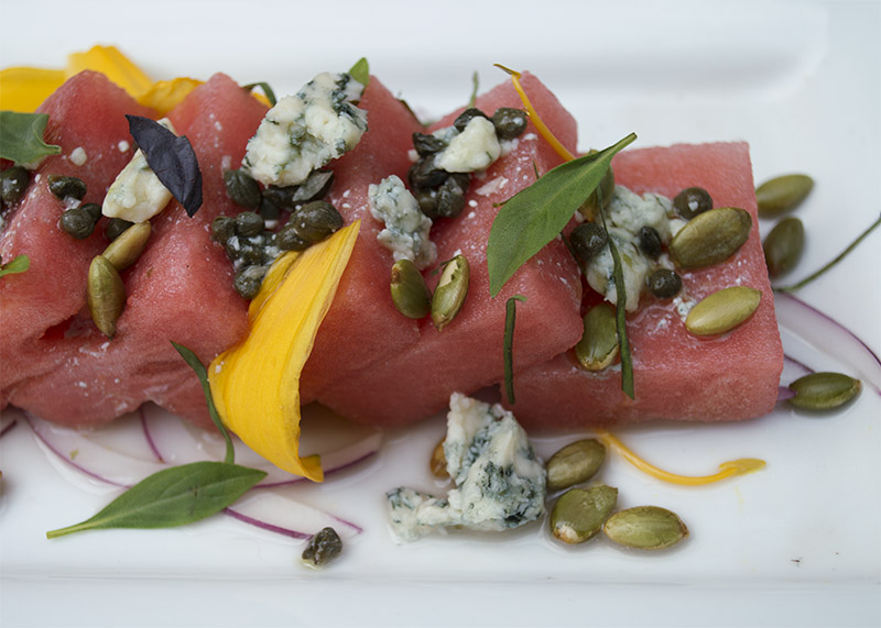 Watermelon Salad inspired by Yotam Ottolenghi. Photo: Claire Bunschoten.