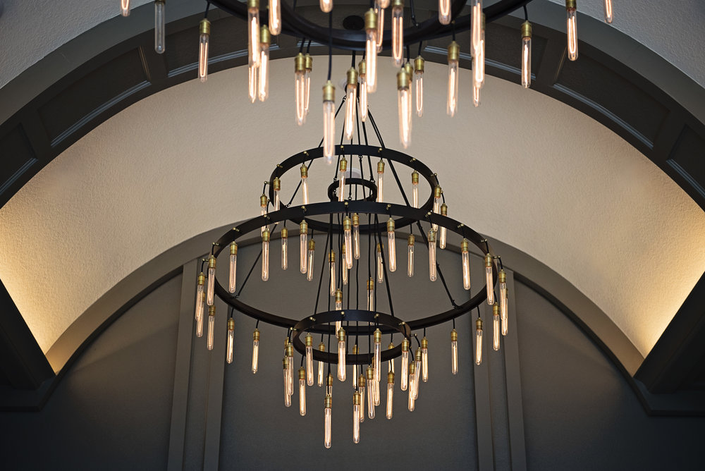 dramatic barrel ceiling with grand chandeliers
