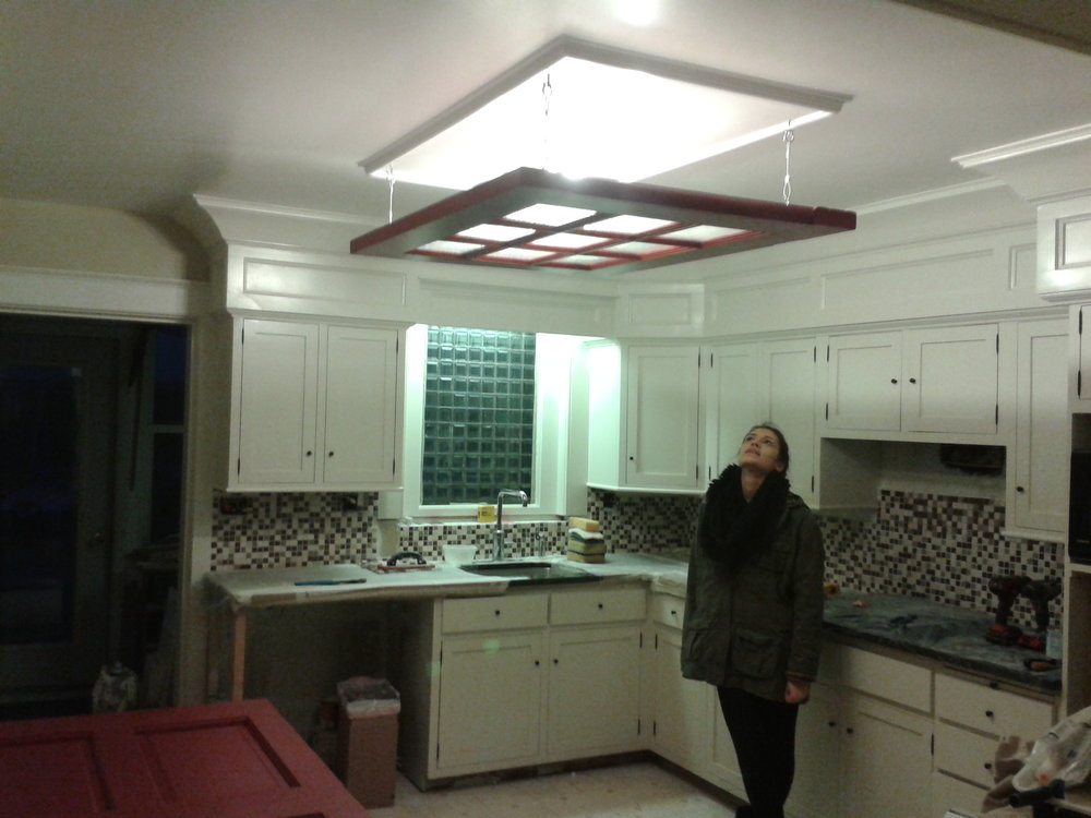 Custom Kitchen Cabinets & Light Fixture
