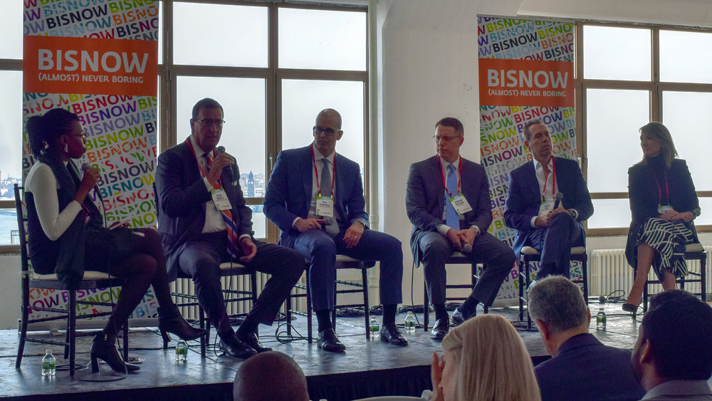 Pictured (from left): Bukky Awosogba,  Better Spaces ; Steve Durels,  SL Green Realty Corp .; Bill Edwards,  Rockefeller Group ; Duncan McCuaig,  Brookfield ; David Falk,  Newmark Knight Frank ; Gabrielle McMillan,  Equiem    Photo courtesy of Bisnow