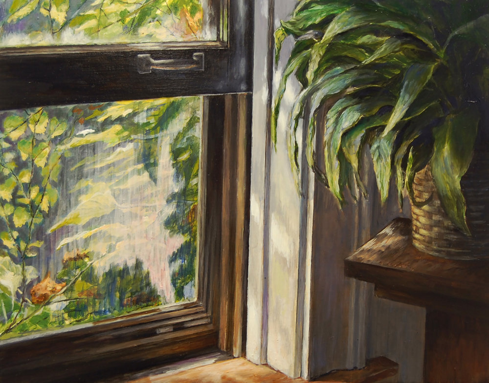 Dining Room Window     and Peace Lily   2011  Oil on canvas  11 x 14 inches