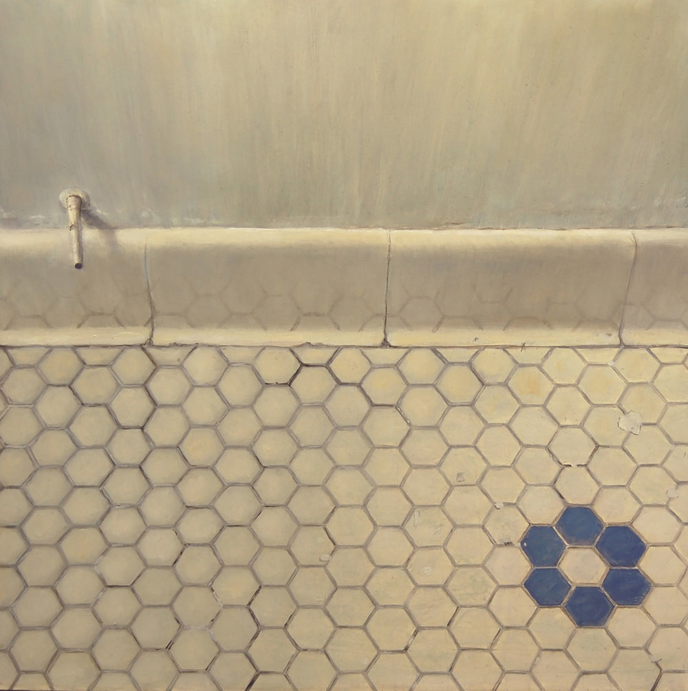 Bathroom Floor Tiles   2011  Oil on canvas  14 x 14 inches