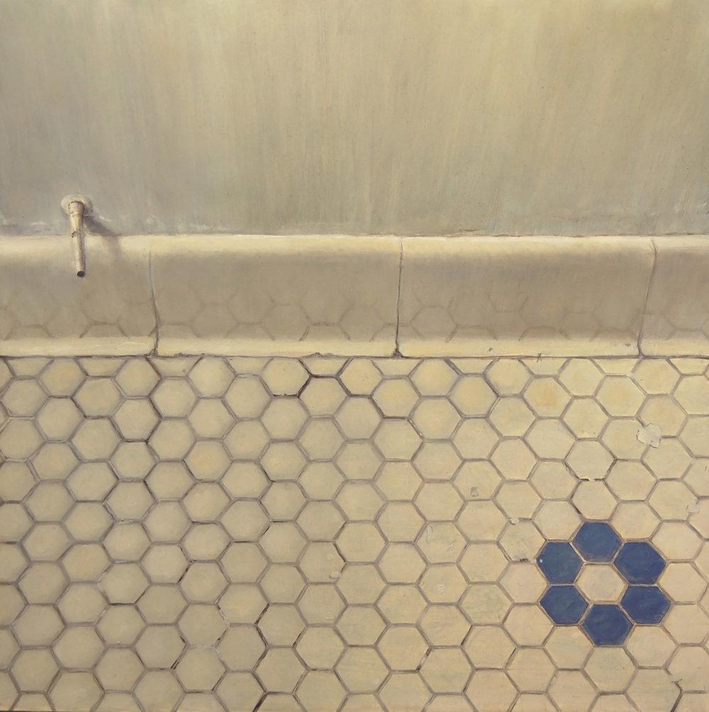 Bathroom Floor Tiles   2011  Oil on canvas  14 x 14 inches