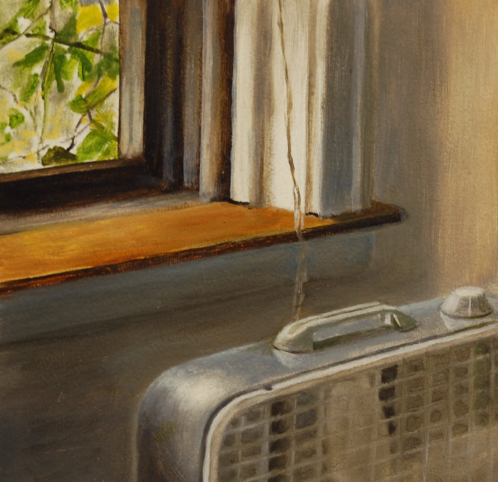 Fan by the Window   2003  Oil on paper  9 x 9 inches