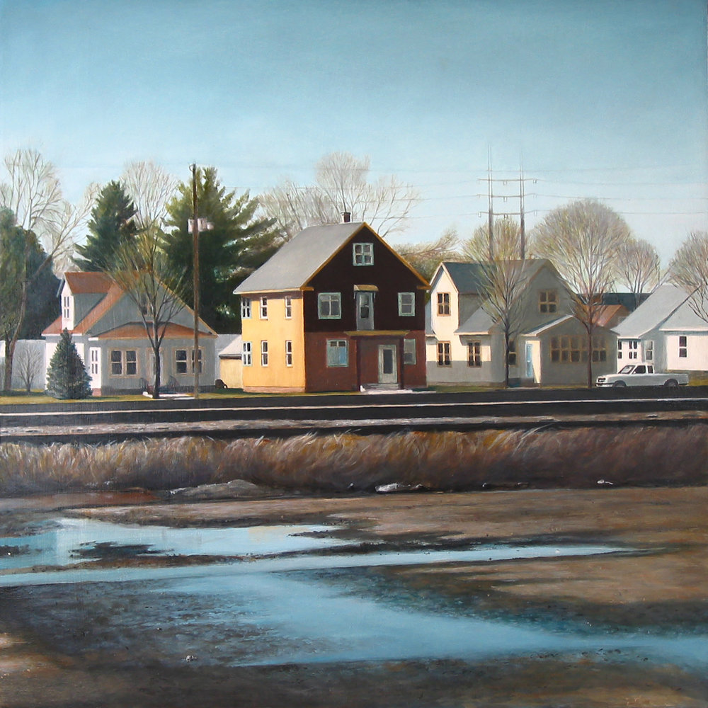 House by Railroad Tracks   2007  Oil on panel  18 x 18 inches