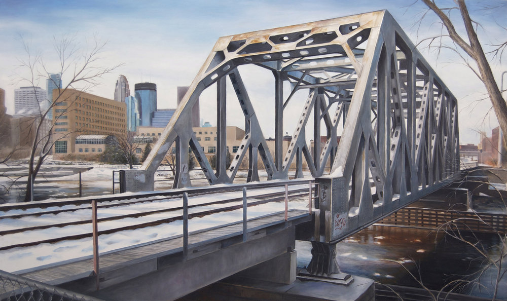 Railroad Bridge at    West Island Avenue   2014  Oil on panel  21.75 x 36 inches