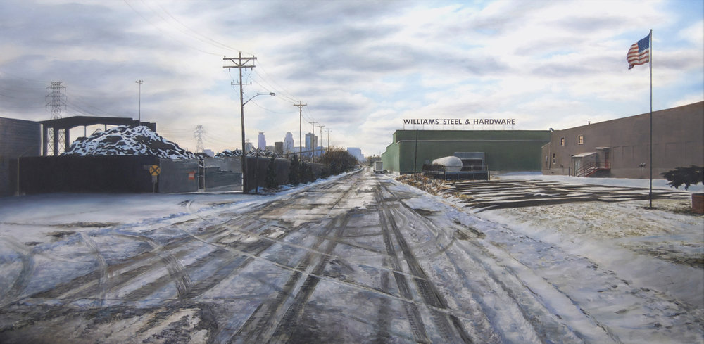 North Pacific Street,     Minneapolis, Winter   2014  Oil on panel  23.5 x 48 inches