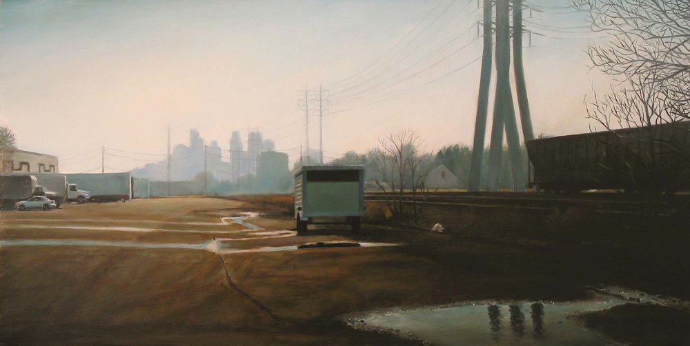Parking Lot by Railroad Tracks   2006  Oil on panel  10 x 20 inches