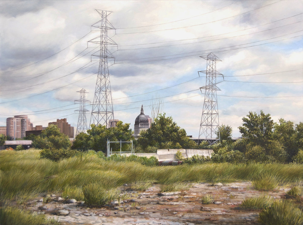 View toward the Basilica,    Minneapolis   2014  Oil on panel  18 x 24 inches
