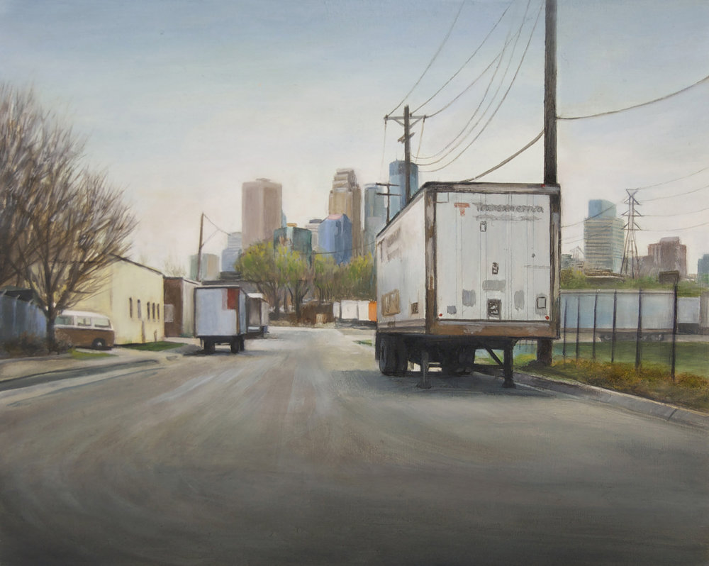View toward Minneapolis from     Currie Avenue West, Spring   2014  Oil on panel  8 x 10 inches