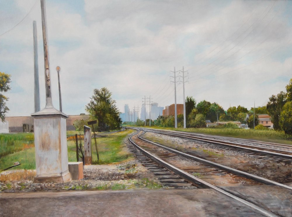 Minneapolis from     27th Avenue NE   2009  Oil on canvas  18 x 24 inches