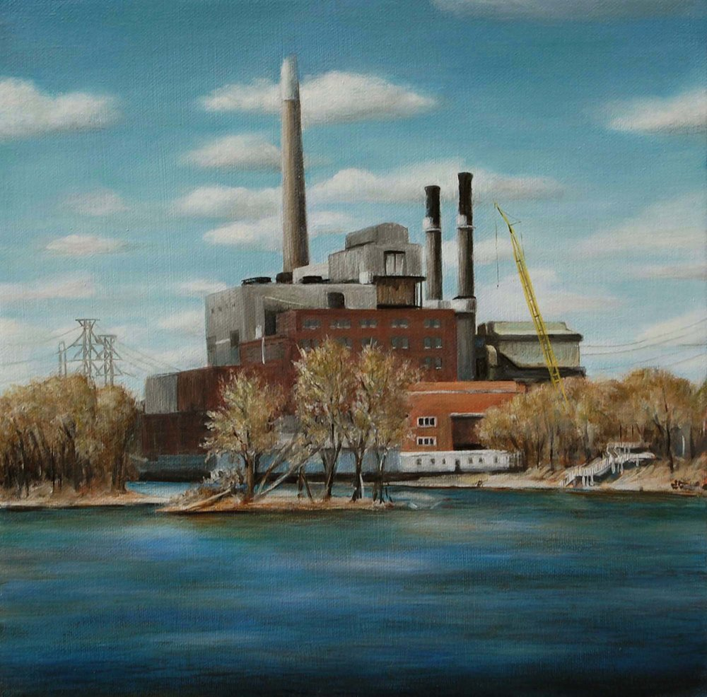 Riverside Power Station,    from Mississippi River   2009  Oil on canvas  12 x 12 inches