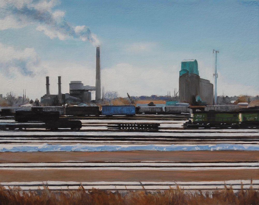 Rail Yard, NE Minneapolis   2008  Oil on canvas  8 x 10 inches