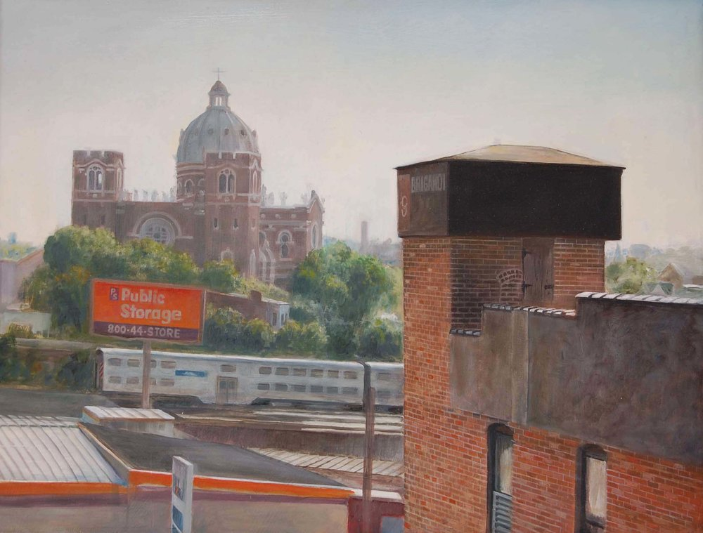 View toward Saint Mary's    from Mendell Street Studio   2012  Oil on panel  11.5 x 15.25 inches